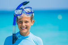 Girl snorkeling Stock Photography