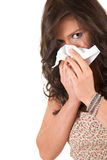 Girl with snotty, runny nose and handkerchief Royalty Free Stock Photo