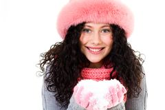 Girl with snow Royalty Free Stock Images