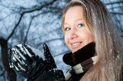 Girl with snow Royalty Free Stock Photos