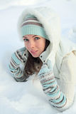 The girl in snow Royalty Free Stock Images
