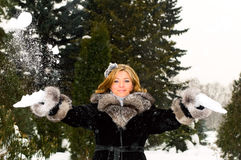 Girl and snow royalty free stock image