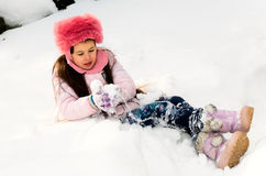 Girl with snow Royalty Free Stock Photo
