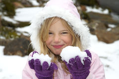Girl with snow stock photo