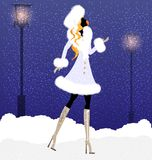 girl and snow Royalty Free Stock Photography