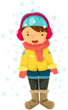 Girl in snow. Illustration of isolated girl in snow on white background Royalty Free Stock Images