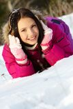 Girl on snow Royalty Free Stock Image