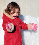 Girl and snow Royalty Free Stock Photos