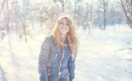 Girl and snow Stock Photography