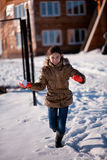 Girl snow fighting Stock Photography