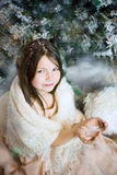 Girl in snow forest Royalty Free Stock Photos