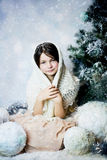 Girl in snow forest Stock Photography