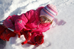 Girl in the snow royalty free stock photos