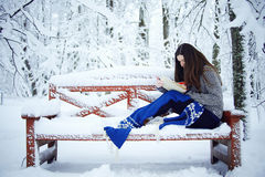 Girl in snow park Stock Photography