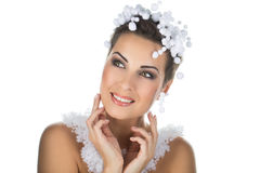 Girl with snow Royalty Free Stock Photography