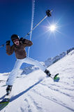 Girl snow skiing Stock Photo