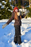 Girl in snow winter Royalty Free Stock Photo