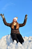 Girl in snow winter Stock Photo