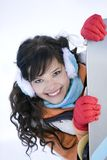 Girl with snowboard Stock Photo