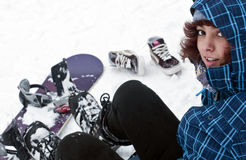 Girl with snowboard. Girl dressed with snowboard clothes getting ready to snowboard Stock Photography