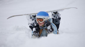 Girl with snowboard Royalty Free Stock Images