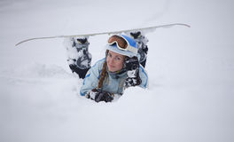 Girl with snowboard Stock Image