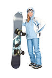 Girl with snowboard. Royalty Free Stock Image
