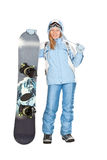 Girl with snowboard. Royalty Free Stock Photography