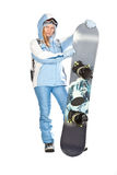 Girl with snowboard. Stock Image