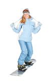Girl with snowboard. Royalty Free Stock Images
