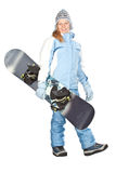 Girl with snowboard. Royalty Free Stock Photos