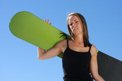Girl with a Snowboard Royalty Free Stock Photos
