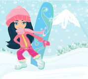 Girl with the snowboard. Illustration Stock Image