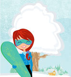 Girl with the snowboard. Illustration Royalty Free Stock Photo