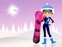 Girl with snowboard. Illustration of girl with snowboard Royalty Free Stock Images