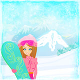 Girl with the snowboard Royalty Free Stock Photo