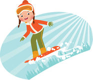 Girl on snowboard. Girl snowboarder sliding down the mountain on a snowboard Stock Photo