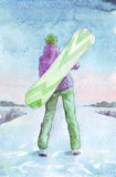 Girl with snowboard watercolor Royalty Free Stock Photo