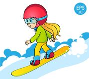 Girl on snowboard on white snow background. Kid on snowboard vector illustration. Girl on snowboard on white snow background. Kid ride on snowboard vector Royalty Free Stock Photo