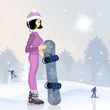 Girl with snowboard in winter. Illustration of girl with snowboard in winter Stock Photography