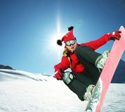 Girl snowboarder Royalty Free Stock Images