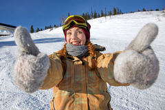 Girl snowboarder Stock Images