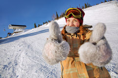 Girl snowboarder Royalty Free Stock Photo