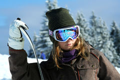girl snowboarder on the winter resort of Royalty Free Stock Photo