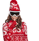 Girl snowboarding Royalty Free Stock Images