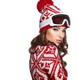 Girl snowboarding Royalty Free Stock Photo