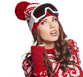 Girl snowboarding Stock Photos