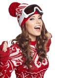 Girl snowboarding Stock Photos