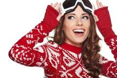Girl snowboarding Royalty Free Stock Image