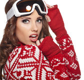 Girl snowboarding Stock Photo